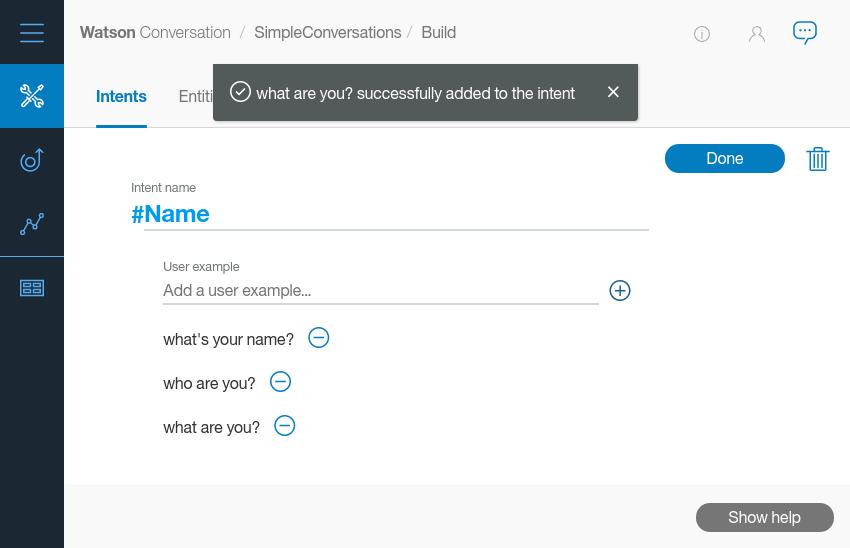 Création d'intention de nom