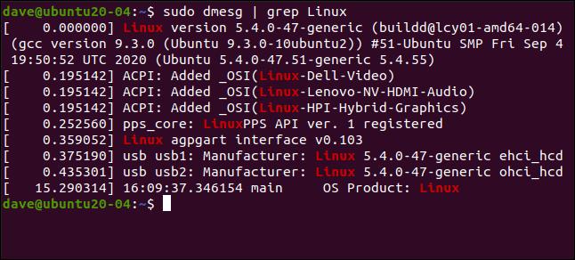sudo dmesg |  grep Linux dans une fenêtre de terminal.