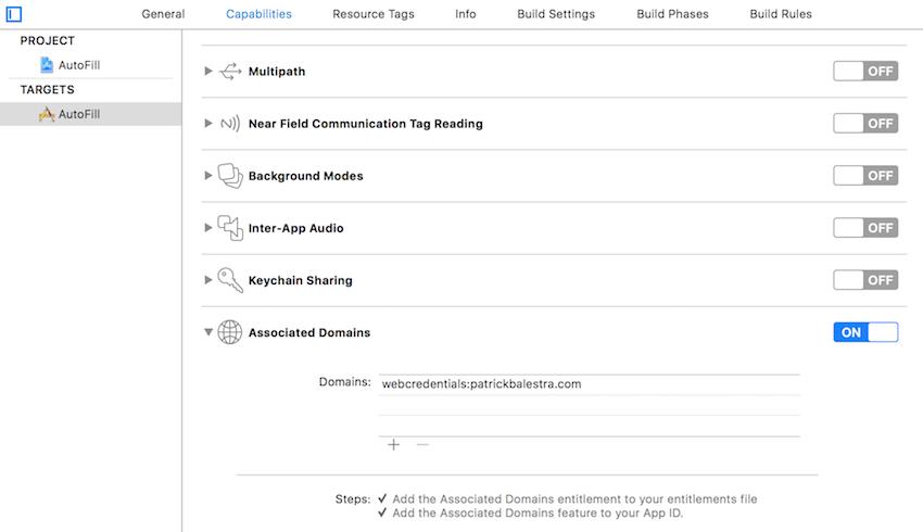 Section des capacités Xcode avec les domaines associés activés