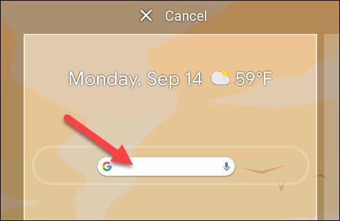 Déposez le widget où vous le souhaitez sur l'écran d'accueil.