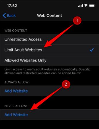 """Appuyez sur """"Limiter les sites Web pour adultes"""", puis sur """"Ajouter un site Web""""."""