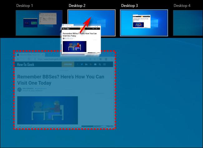 Ziehen eines Fensters zwischen virtuellen Desktops auf dem Bildschirm der Aufgabenansicht in Windows 10.