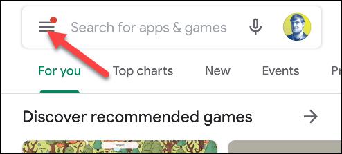google play appuyez sur l'icône du menu