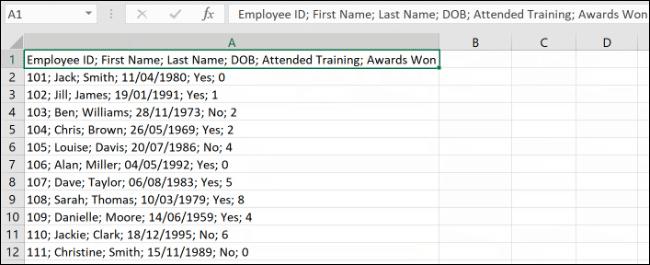 Données, dans une seule colonne, dans Microsoft Excel
