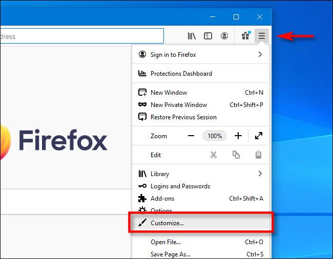 """Cliquez sur le menu hamburger dans Firefox, puis cliquez sur """"Personnaliser""""."""