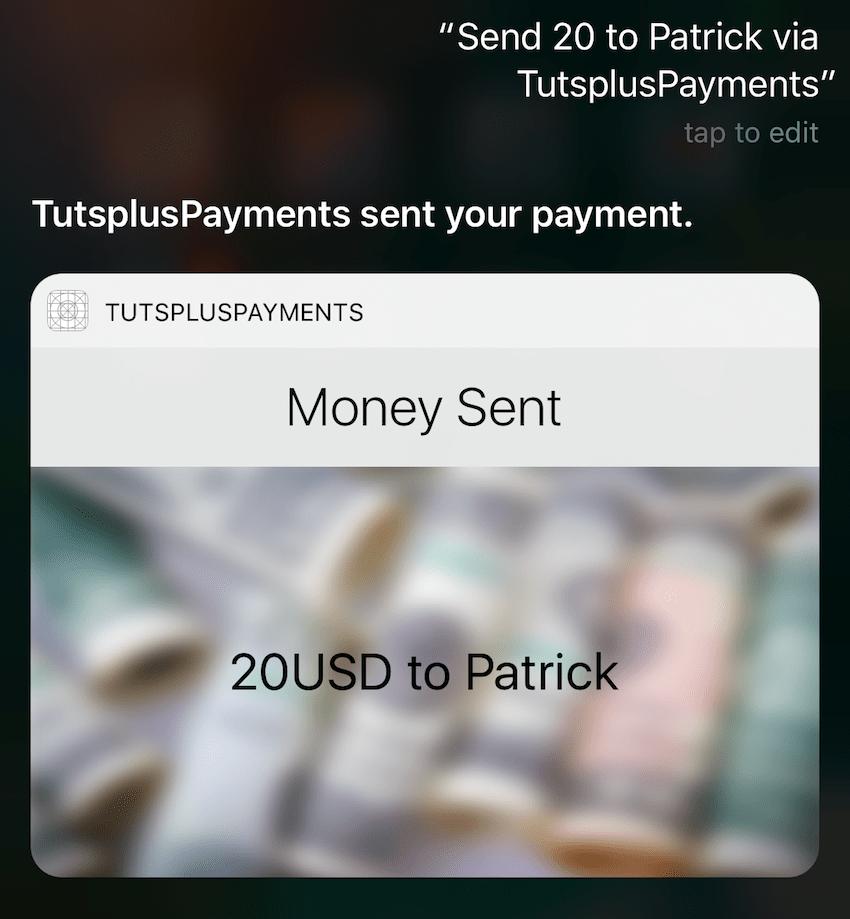 Résultat final de l'interface utilisateur personnalisée affichée par Siri