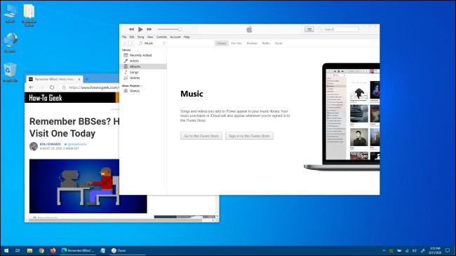 Un exemple de bureau Windows 10.