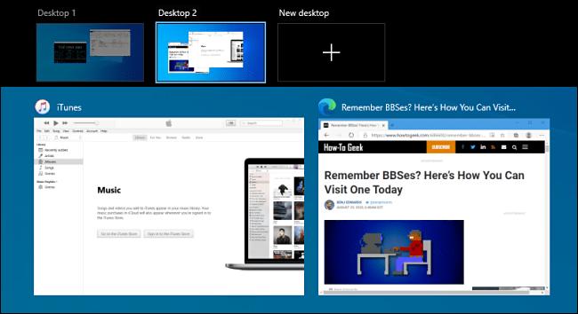 L'écran d'affichage des tâches sous Windows 10.