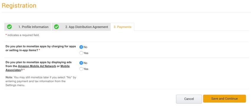 Amazon Appstore - Paramètres de monétisation d'Amazon Developer Console