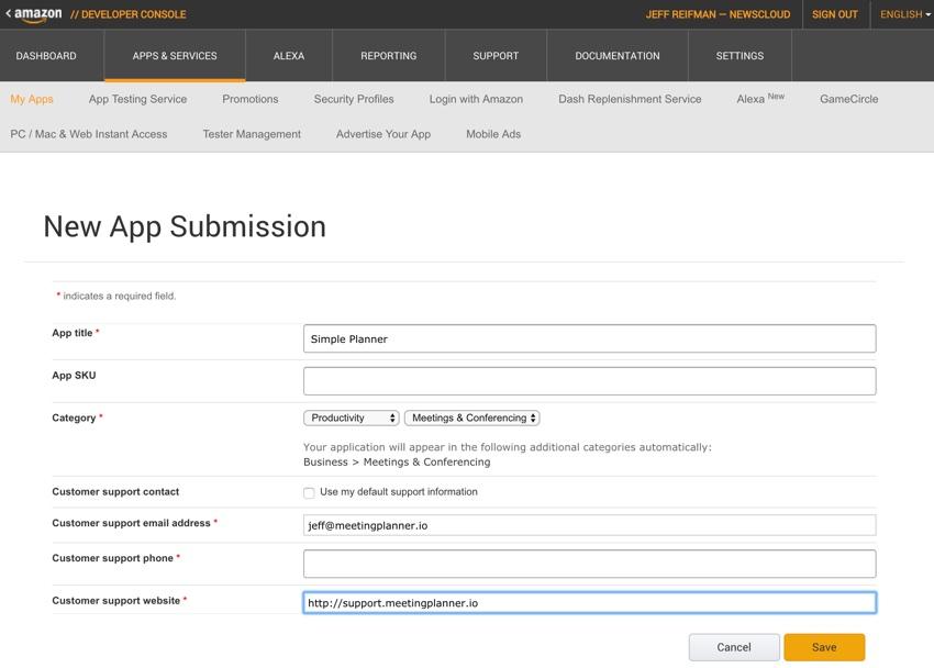 Amazon Appstore - Formulaire de soumission d'une nouvelle application