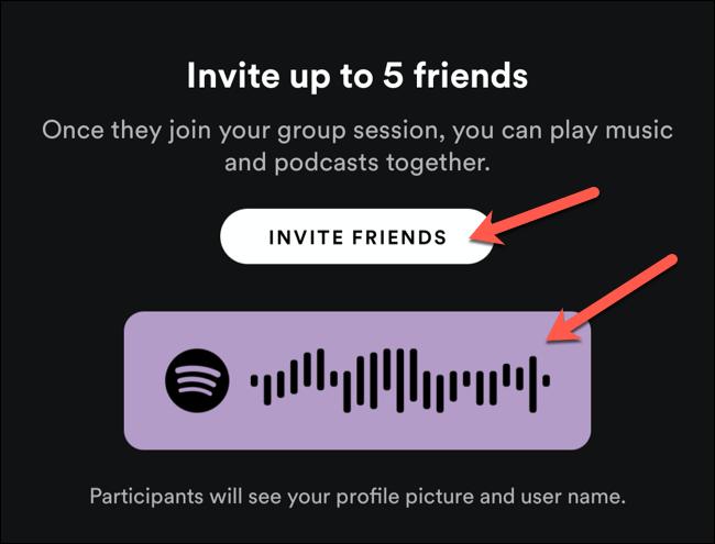 Utilisez le code de partage pour inviter des utilisateurs à proximité à une session de groupe Spotify, ou appuyez sur Inviter des amis pour la partager avec d'autres utilisateurs
