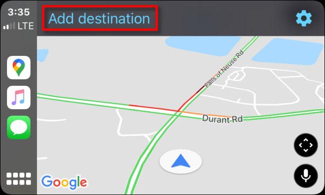 """Appuyez sur """"Ajouter une destination"""" dans Google Maps pour CarPlay sur iPhone."""