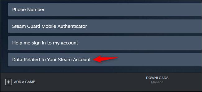 Affichage des données de compte Steam dans le client Windows 10 Steam.