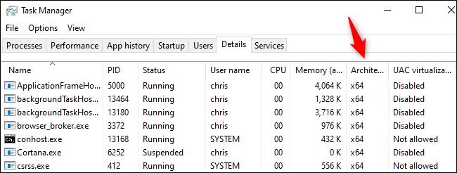 La colonne Architecture dans le Gestionnaire des tâches de Windows 10.