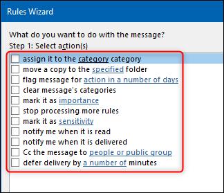 Les options d'action de l'assistant de règles.