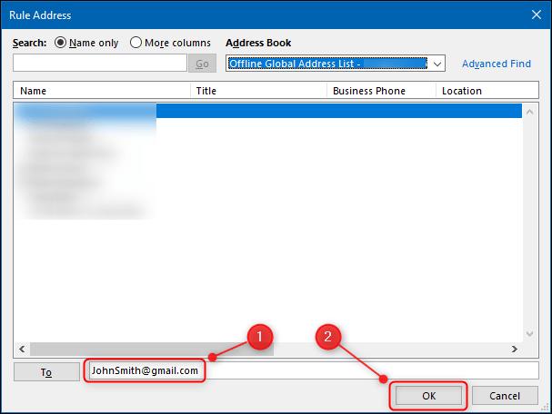Le champ dans lequel placer l'adresse e-mail du destinataire.