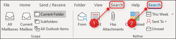 Das Outlook-Menüband mit zwei Registerkarten