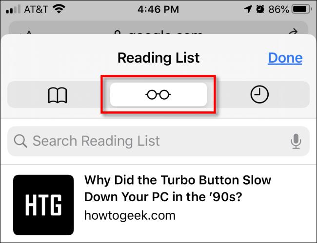Appuyez sur l'icône des lunettes dans Safari sur iPhone pour accéder à la liste de lecture