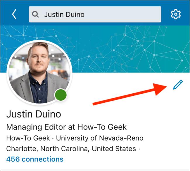 Toque el botón Editar en su página de perfil
