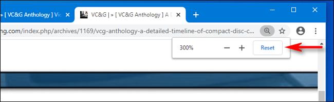 Haga clic en el botón de reinicio en la ventana emergente de Zoom en Google Chrome para reiniciar el zoom