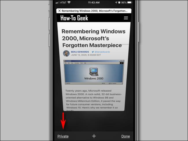 Toque el botón Privado en Safari para iPhone