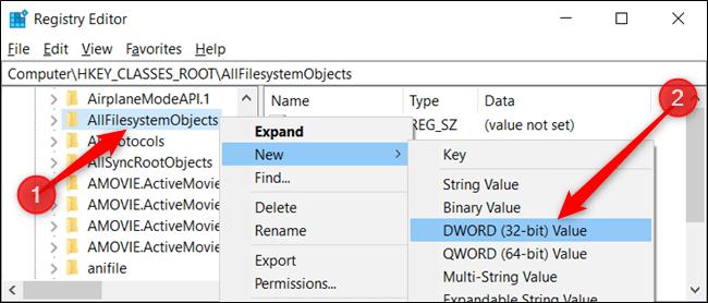 Cliquez avec le bouton droit sur la clé et choisissez Nouveau data-recalc-dims=