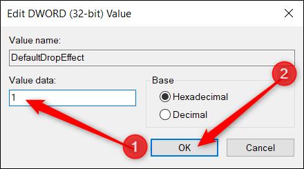 Définissez la zone Données de la valeur sur «1» et cliquez sur «OK».