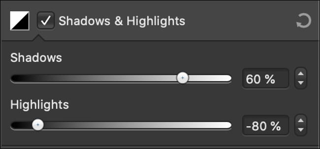 """Les curseurs """"Ombres et hautes lumières"""" dans un éditeur de photos."""