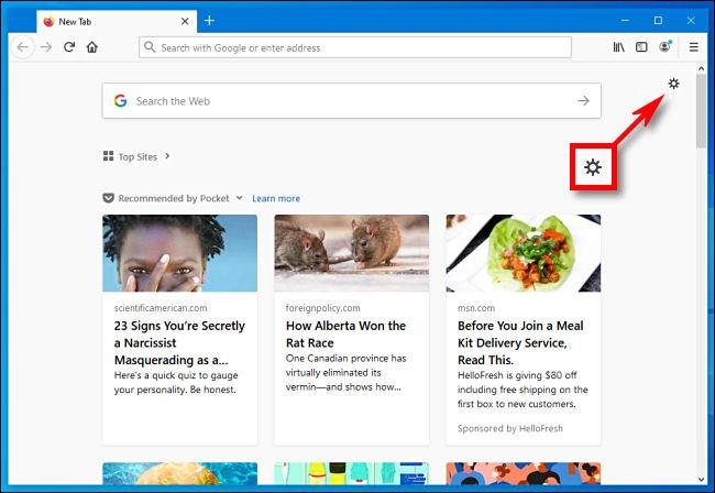 Cliquez sur l'icône d'engrenage sur votre page d'accueil Firefox dans Firefox.