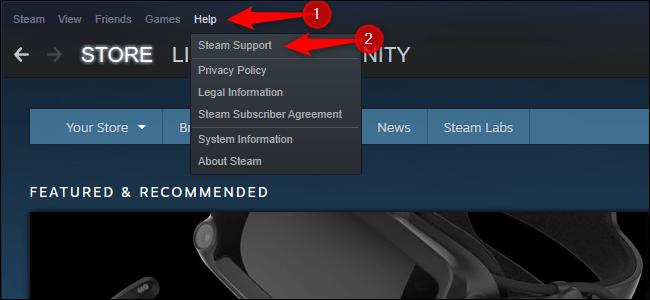 Ouverture du support Steam.