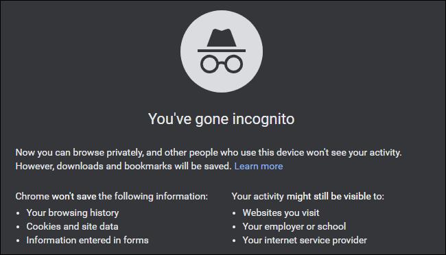 """le """"Vous êtes parti en mode navigation privée"""" message sur Google Chrome."""
