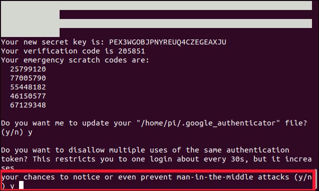 Voulez-vous interdire plusieurs utilisations du même jeton d'authentification?  (y / n) dans une fenêtre de terminal.