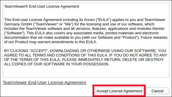 Cliquez sur «Accepter le contrat de licence».