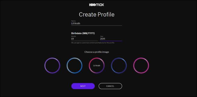 Erstellen Sie ein HBO Max-Profil