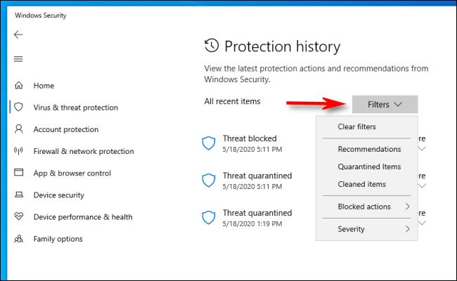 Klicken Sie im Schutzverlauf in Windows 10 auf Filter