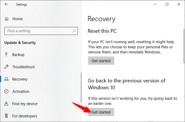 Desinstalación de la actualización de mayo de 2020 de Windows 10
