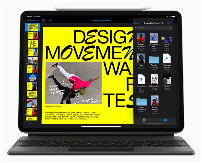 iPadOS 13 fonctionnant sur un iPad Pro.