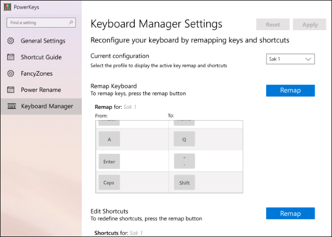 Eine erste Version der Tastaturmanager-Einstellungen in PowerToys.