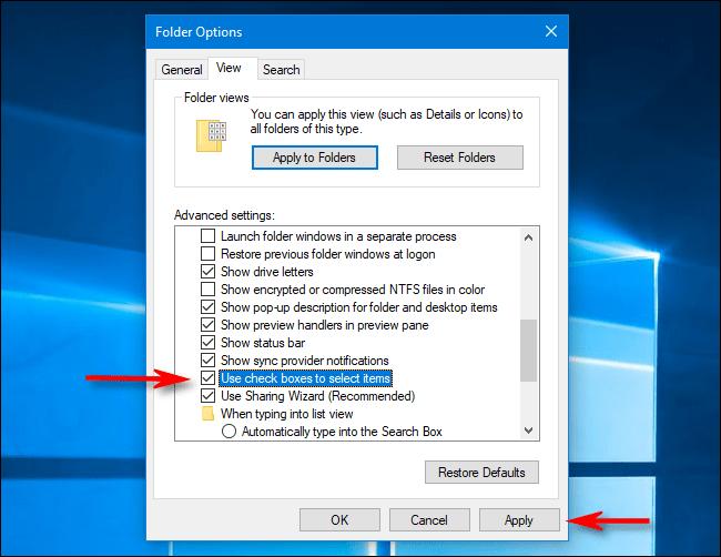 Deaktivieren Sie die Kontrollkästchen für Dateien in den Ordneroptionen in Windows 10