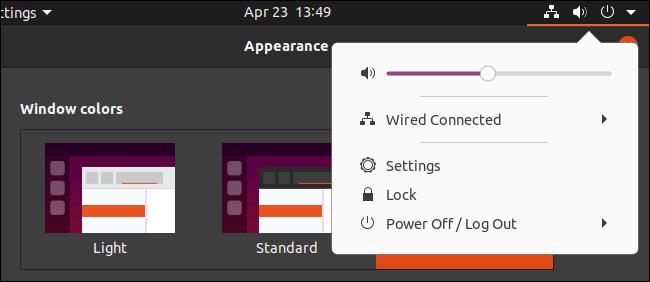 Thème sombre d'Ubuntu avec un menu de panneau clair