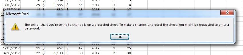 Message d'erreur dans Excel