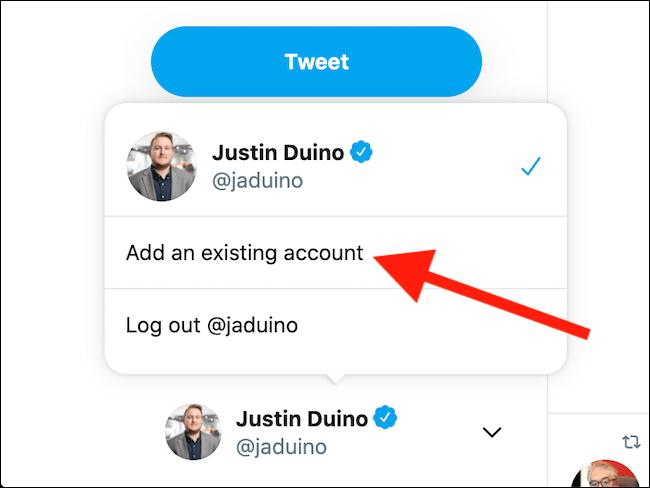 """Sélectionnez le bouton """"Ajouter un compte existant"""""""