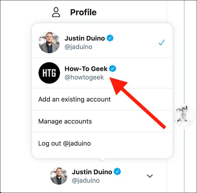Wählen Sie das Twitter-Konto aus, zu dem Sie wechseln möchten