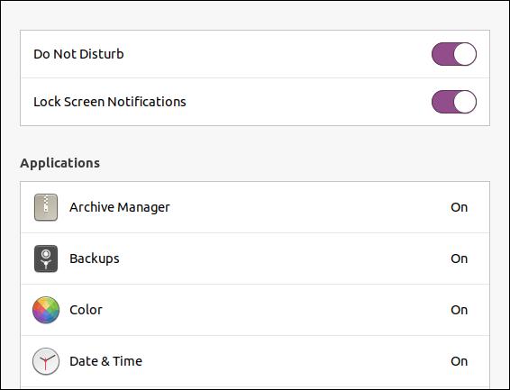 Paramètre des notifications de l'écran de verrouillage Ubuntu 20.04