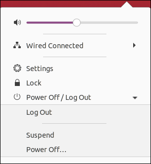 Menu système Ubuntu 20.04, développé