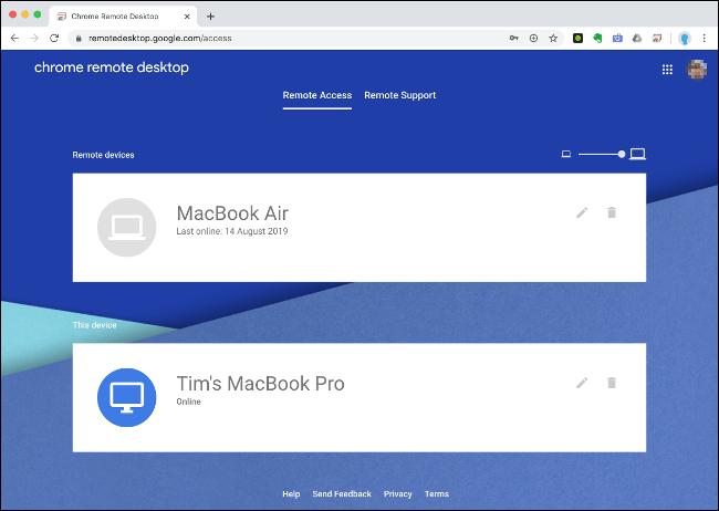 """Le menu """"Accès à distance"""" sur le bureau à distance Chrome."""