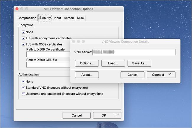 Le menu de la visionneuse TigerVNC sur un Mac.
