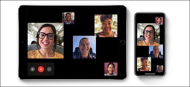 Cinq personnes sur un appel FaceTime sur un iPad et un iPhone.