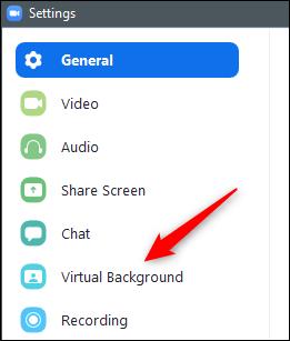 Option für virtuellen Hintergrund im linken Bereich
