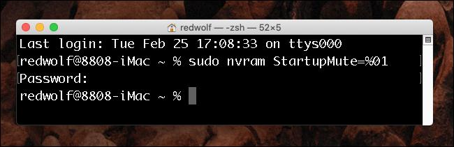 Fenêtre du terminal Mac OS X - Désactiver le carillon de démarrage